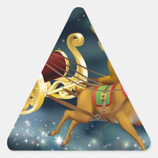 Escena del trineo de Papá Noel Pegatinas Triangulo