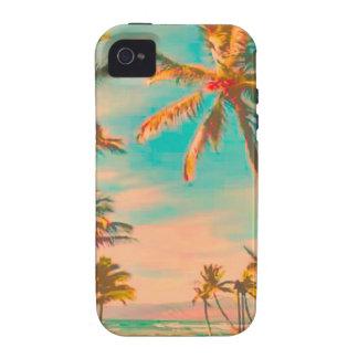 Escena hawaiana/trullo de la playa del vintage de Case-Mate iPhone 4 fundas