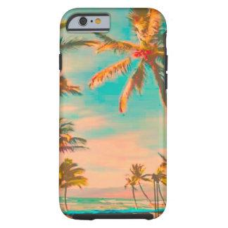 Escena hawaiana/trullo de la playa del vintage de funda de iPhone 6 tough