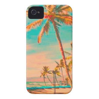 Escena hawaiana/trullo de la playa del vintage de iPhone 4 Case-Mate protector