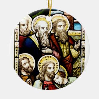 Escena religiosa adorno navideño redondo de cerámica