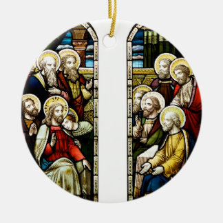 Escena religiosa del navidad adorno redondo de cerámica