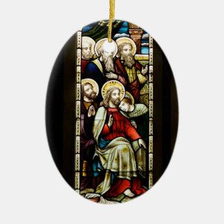 Escena religiosa del navidad adorno navideño ovalado de cerámica