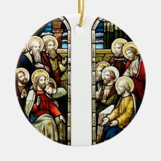 Escena religiosa del navidad adorno navideño redondo de cerámica