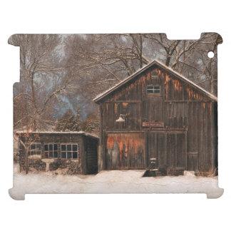Escena rústica de la nieve del vintage del granero