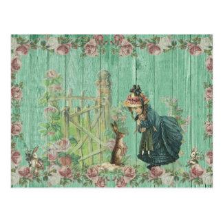 Escena rústica pintada vintage del conejo de postal