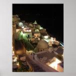 Escena Santorini de la noche Póster