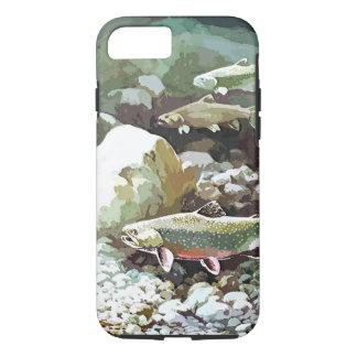 Escena subacuática de la pesca de la trucha funda para iPhone 8/7