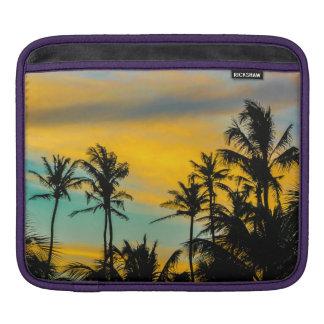 Escena tropical en el tiempo de la puesta del sol funda para iPad