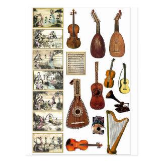Escenas musicales e instrumentos postal