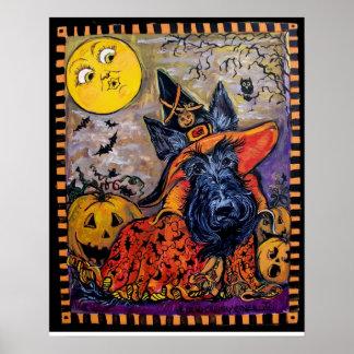 Escocés Terrier de Halloween Póster