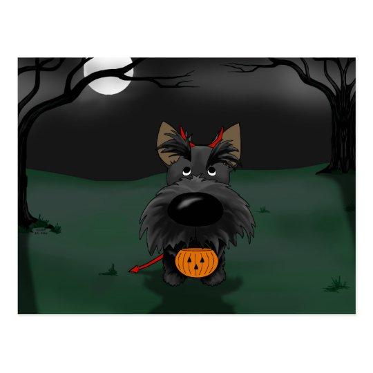 Escocés Terrier Halloween Postal