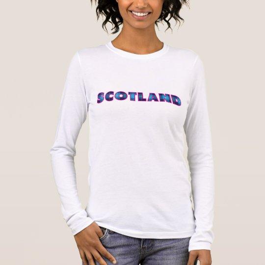 Escocia en tartán azul y borde rosado camiseta de manga larga