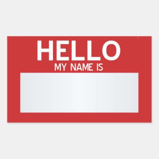Esconda hola mi nombre es… personalizable pegatina rectangular