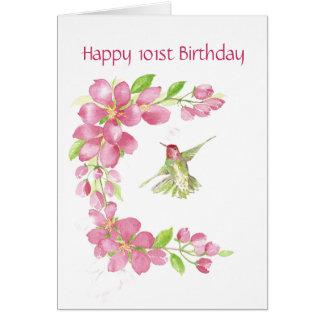 Esconda la 101a flor de cerezo y colibrí del cumpl tarjeta de felicitación