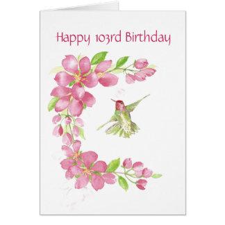 Esconda la 103a flor de cerezo y colibrí del cumpl tarjeta de felicitación