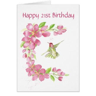 Esconda la 21ra flor de cerezo y colibrí del cumpl tarjeta de felicitación
