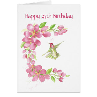 Esconda la 97.a flor de cerezo y el colibrí del tarjeta de felicitación