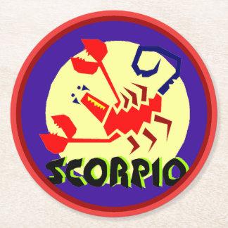 Escorpión Coastera redondo de la muestra del Posavasos De Papel Redondo