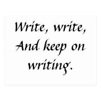 Escriba, escriba, y guarde en la escritura postal