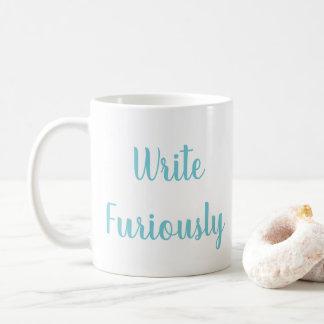 Escriba furiosamente la taza de café