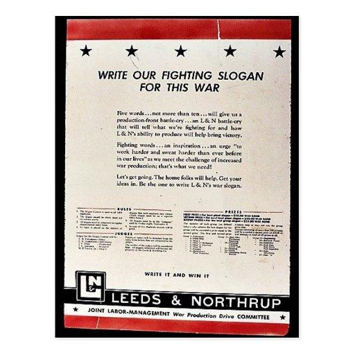 Escriba nuestro lema que lucha para esta guerra tarjetas postales