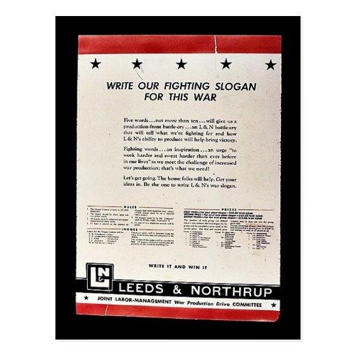 Escriba nuestro lema que lucha para esta guerra postal