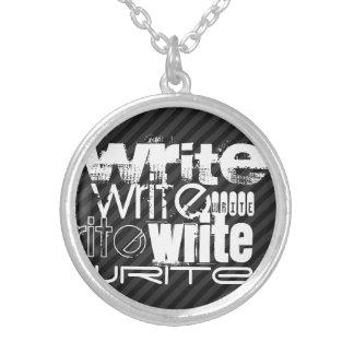 Escriba; Rayas negras y gris oscuro Colgante Redondo