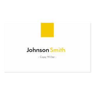 Escritor de la copia - amarillo ambarino simple plantillas de tarjeta de negocio