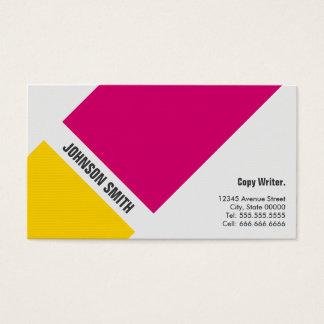 Escritor de la copia - amarillo rosado simple tarjeta de negocios
