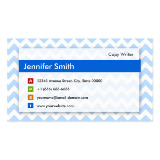 Escritor de la copia - Chevron azul moderno Tarjetas De Visita
