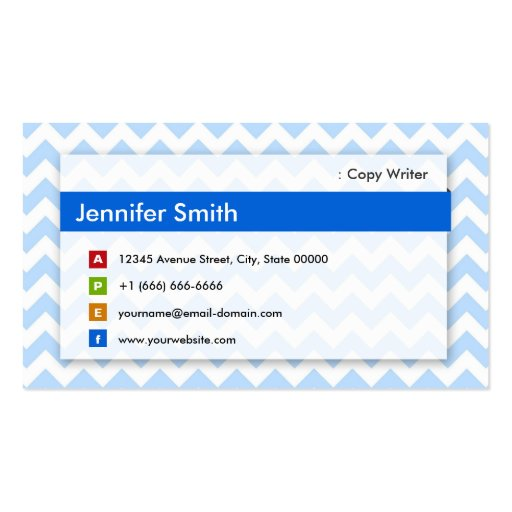 Escritor de la copia - Chevron azul moderno Plantilla De Tarjeta Personal