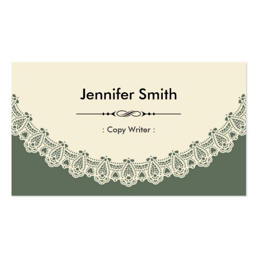 Escritor de la copia - cordón elegante retro plantilla de tarjeta de visita