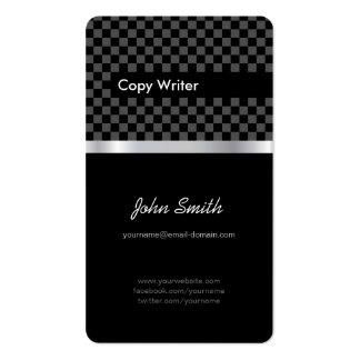 Escritor de la copia - cuadrados de plata negros e tarjetas personales