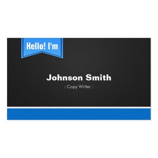 Escritor de la copia - hola éntreme en contacto co tarjeta de visita
