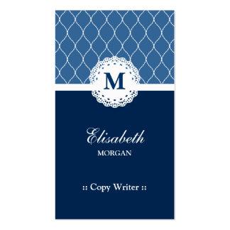 Escritor de la copia - modelo azul elegante del co plantillas de tarjetas de visita