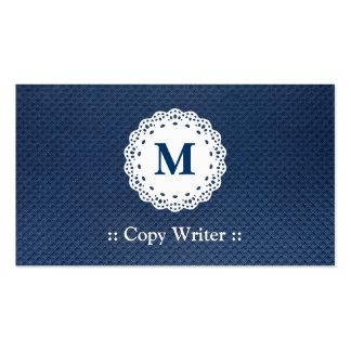 Escritor de la copia - modelo del azul del monogra tarjeta personal