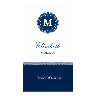 Escritor de la copia - monograma azul elegante del tarjetas de visita
