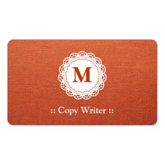 Escritor de la copia - monograma elegante del cord tarjeta de visita