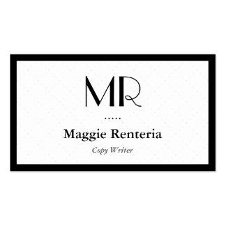 Escritor de la copia - monograma elegante limpio tarjetas de negocios