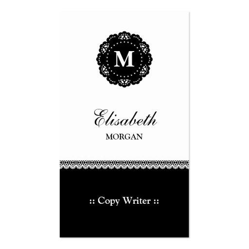 Escritor de la copia - monograma negro elegante de plantillas de tarjeta de negocio