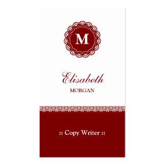 Escritor de la copia - monograma rojo elegante del tarjetas de visita