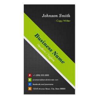Escritor de la copia - negro y verde superiores plantilla de tarjeta de negocio