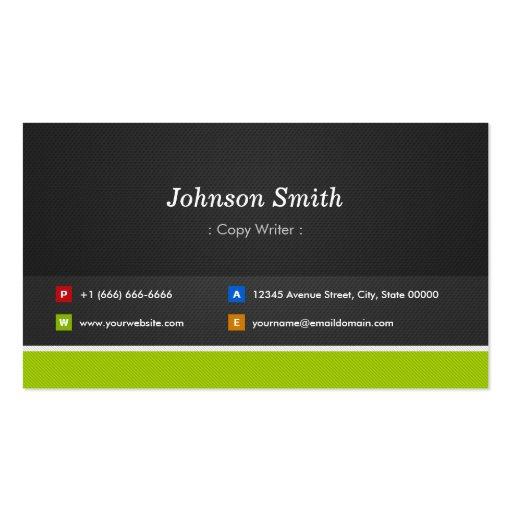 Escritor de la copia - profesional y premio tarjeta de visita