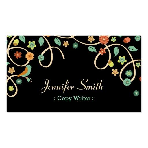 Escritor de la copia - remolino elegante floral plantillas de tarjeta de negocio