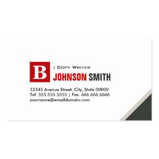 Escritor de la copia - rojo elegante simple tarjetas de visita