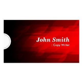 Escritor de la copia - rojo oscuro moderno plantilla de tarjeta de visita