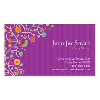 Escritor de la copia - tema púrpura de la tarjetas de visita