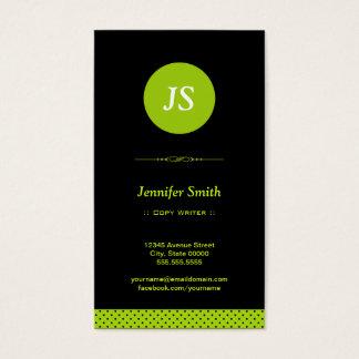 Escritor de la copia - verde elegante tarjeta de negocios