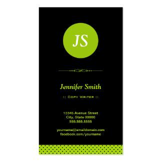 Escritor de la copia - verde elegante tarjeta de negocio